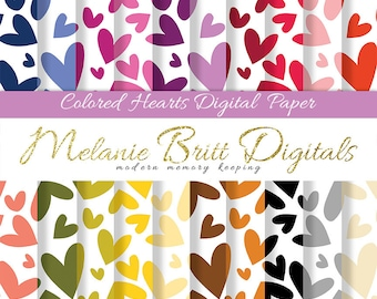 HEART digital paper, scrapbook papers, colorful hearts, Valentines Day, Wedding, Anniversary, mega paper pack, printable paper pdf