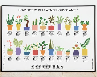 How Not to Kill Twenty Houseplants  - Poster A4 / A3 / A2 - Houseplants Care Print, Plants Wall Art, Cacti, Plant Lovers Gift, Nature Lover