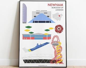 Newham Borough Print A4 - London Travel Wall Art Poster Gift, Stratford, Queen Elizabeth Park, Olympics 2012, West Ham FC, East London