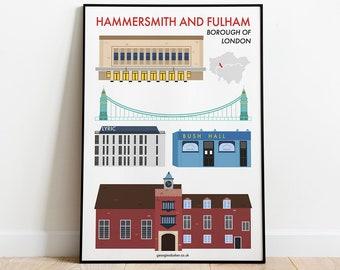 Hammersmith and Fulham London Borough Print A4 - Travel Wall Art Print, Hammersmith Gift, Apollo, Theatres