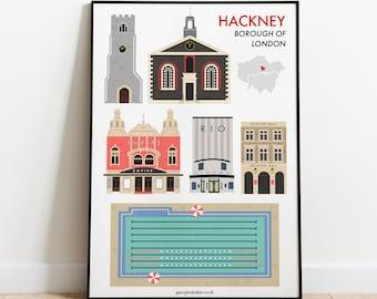 Hackney London Borough Print A4 - Travel Wall Art Print, Hackney Gift, Empire Theatre, Dalston, Haggerston, London Fields