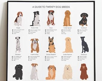 Dog Guide Poster A4/A3 - Dog Print Gift, Pets Animal Wall Art, Home Artwork Decor