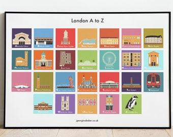 London Landmarks Poster - A4/A3/A2 Print, London Guide, London Wall Art, Travel Decor, London A-Z, Westminster