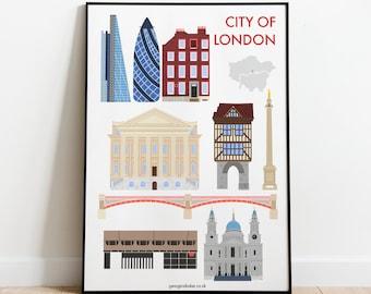 City of London Print A4 - Travel Wall Art Print Gift, Blackfriars, Monument, The Shard, Bank, St Pauls Cathedral