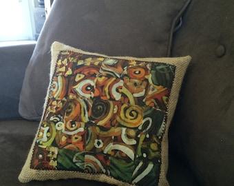 Woven Batik Pillow with Burlap Accents