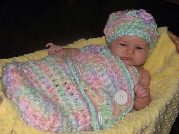 CROCHET PATTERN Crochet Baby Swaddler Cocoon and Hat Set in