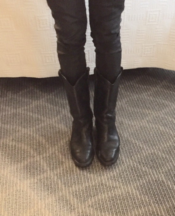Vintage biker western cowboy boots black leather s