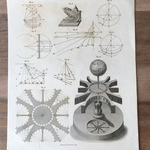 Antique Astronomy engraving Astronomical Instruments 1819 Astronomy print Whirling Table
