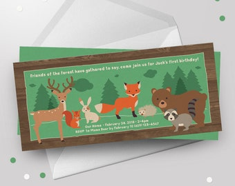 WOODLAND BIRTHDAY Invitation PRINTABLE Forest Woodland First Birthday Animals Green