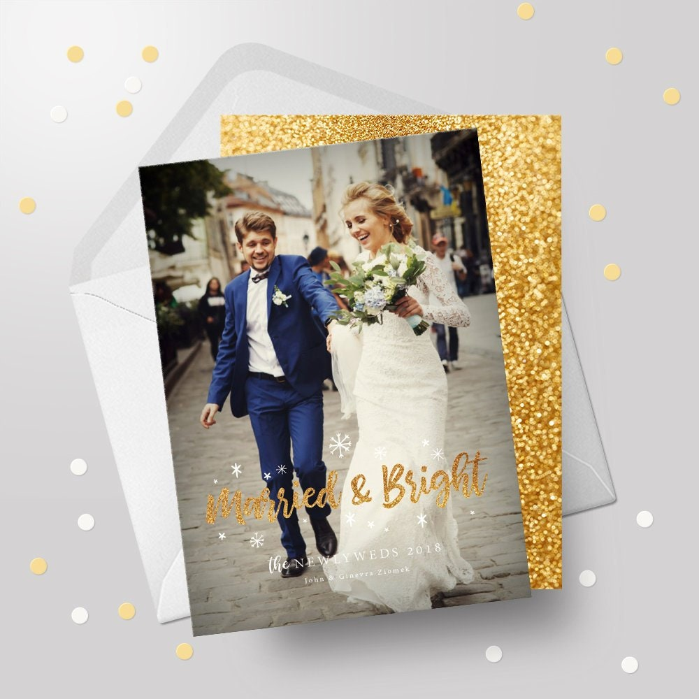 Married and Bright - Holiday Card - Christmas Card - Wedding Holiday Cards - Just Married Christmas Card - 5x7 Printable File - Digital Jpeg