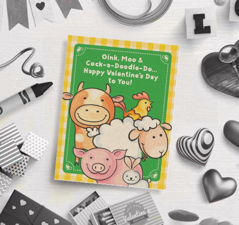 Digital Download Valentine/'s Gift Tags PRINTABLE Farm Themed Valentine/'s Day Card Classroom Cards