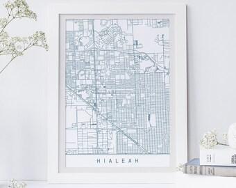 Hialeah Florida Map.Hialeah Map Etsy