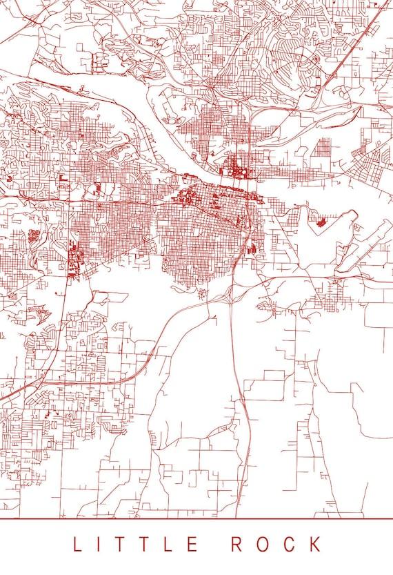 LITTLE ROCK ARKANSAS Map - Customizable City Map, High Quality Giclee  Print, Minimalist Art