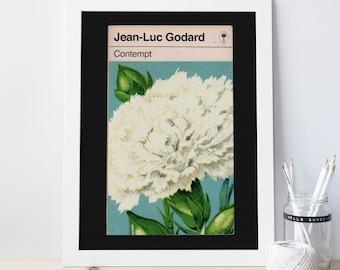 GODARD FILM POSTER -  Contempt Movie Poster, Jean-Luc Godard, Penguin Book Cover, Minimalist Movie Poster, Film Lover Art