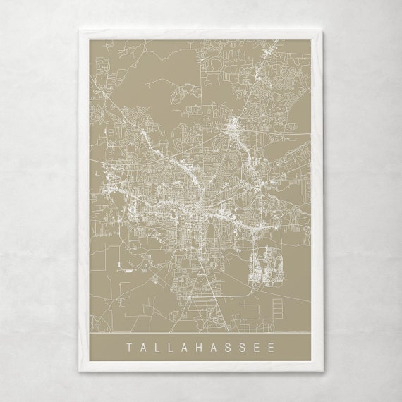 Florida Map Usa.Tallahassee City Map Line Art City Map Road Map Of Etsy
