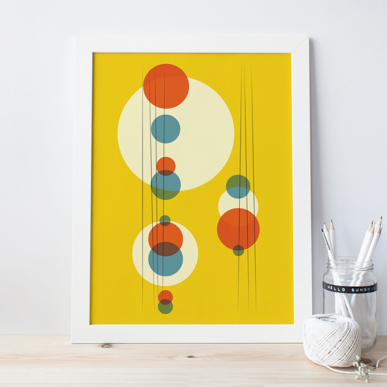MINIMALIST ART PRINT Mid Century Art Yellow Circles Wall | Etsy