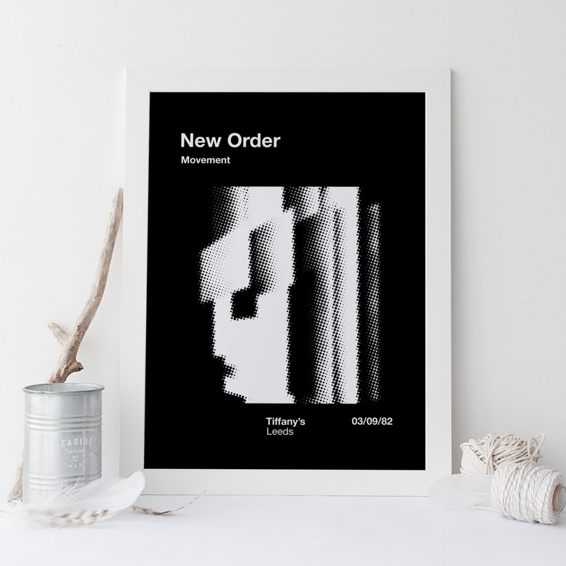 NEW ORDER POSTER - Retro Industrial Music Poster - Retro Minimalist Music  Poster Print Vintage Music Show Joy Division New Order Bauhaus