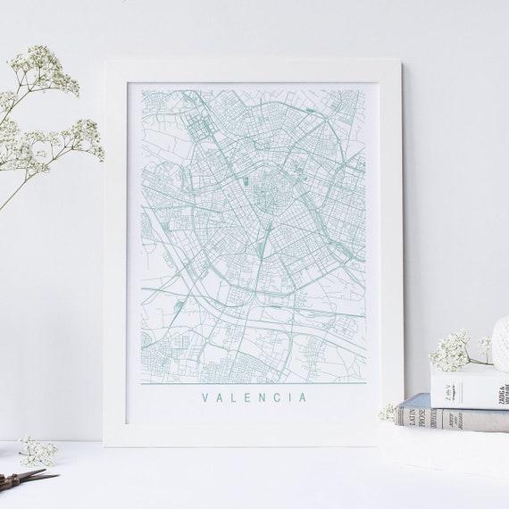 VALENCIA MAP - Minimalist Valencia Art Print, Customizable City Map, High  Quality Giclee Print, Modern Map Art