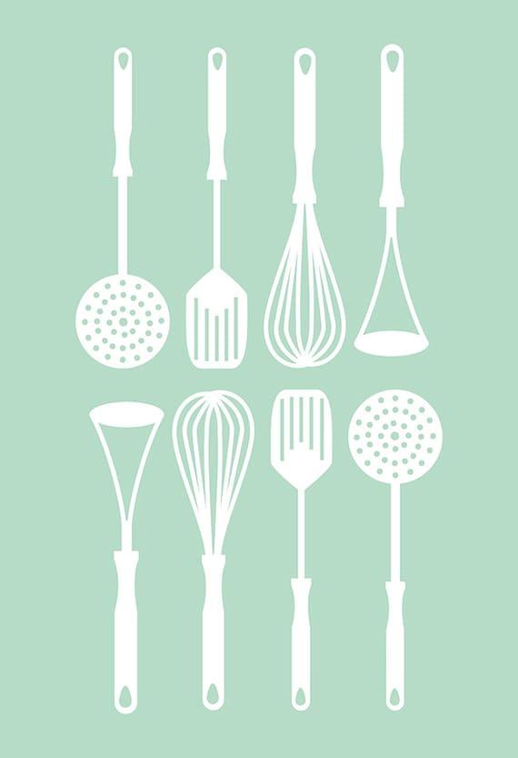 KITCHEN UTENSILS POSTER Retro Kitchen Art Poster Minimalist Mid-Century  Print Giclee Print Ikea Ribba Kitchen Poster Eames Era Art