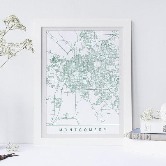 MONTGOMERY ALABAMA MAP anpassbare Stadtplan hochwertiger   Etsy
