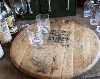 Lazy Susan Bourbon Barrel Head, whiskey barrel lid, Serving Tray, Makers Mark, Buffalo Trace, gift for him, dad husband, woodford