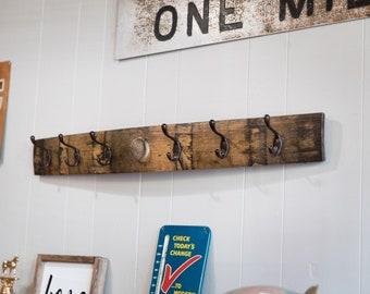 Bourbon Barrel Coat Rack, Hat Rack, wood rack, Rustic Wall Coat Rack, gift for him, dad, husband, christmas