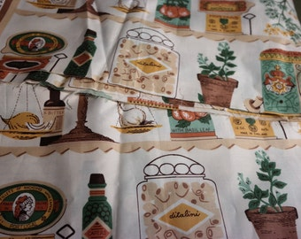 """Fabric """"Capers"""" Novelty Kitchen Fabric Panels  Polished Cotton"""
