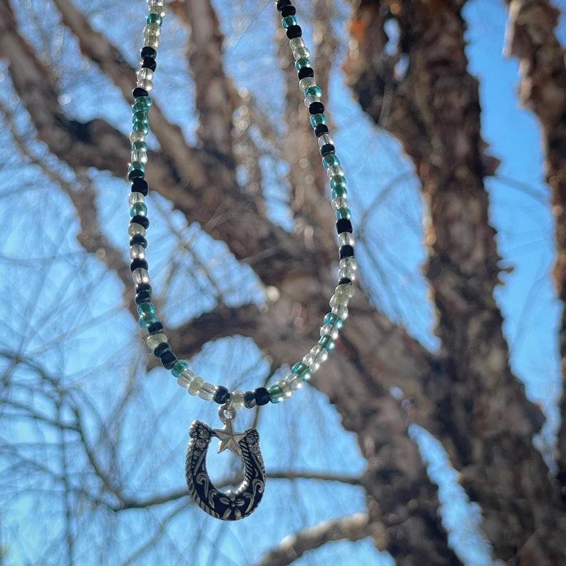 Western Horseshoe hand beaded necklace
