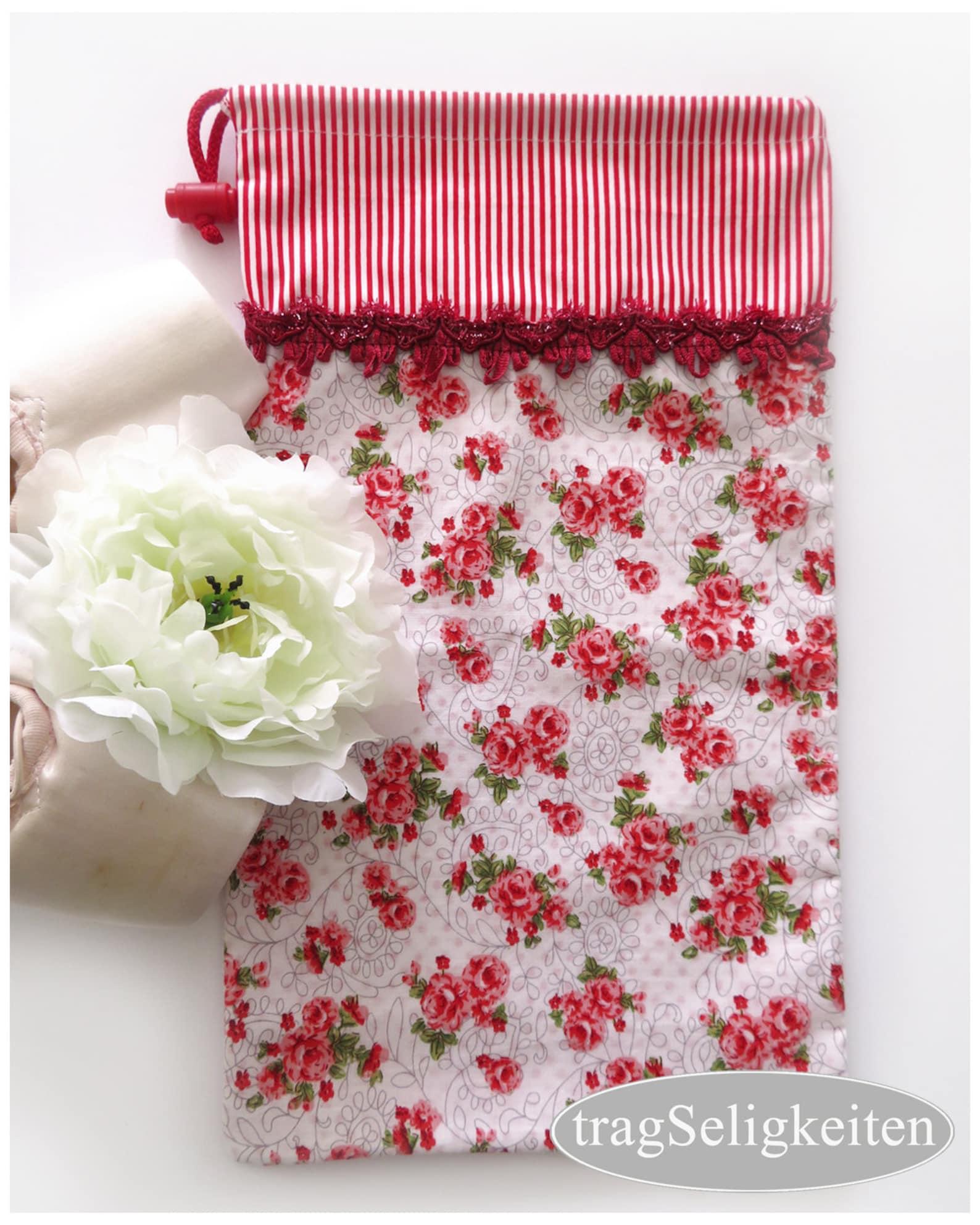 red white pointe shoe bag, ballet shoe bag, rose print, mesh back, dance shoe bag, drawstring bag, ballet bag, dance gift, balle