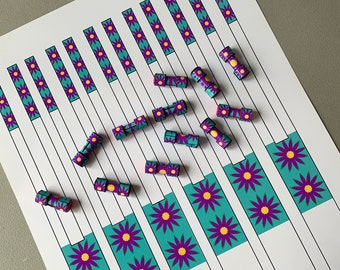 Printable Paper Bead Strips Download - Dumbbell Shape BoHo Flower Design To Cut Out And Roll Into Beautiful Paper Beads With a Difference