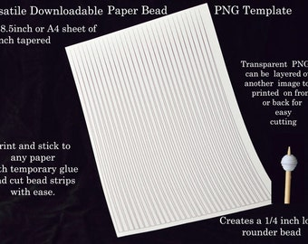 Paper Bead Templates - Quarter inch tapered. UK A4 & US Letter size. No measuring. No drawing lines. Make paper bead strips the easy way!.