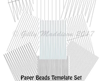 Paper Bead Templates Set of Nine - Instant Download