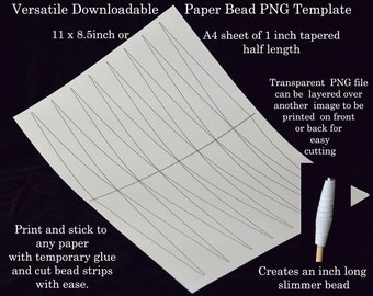 Paper Bead Templates - 1 inch half page tapered. UK A4 & US Letter size. No measuring. No drawing lines. Paper bead strips the easy way!.
