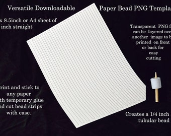 Paper Bead Templates - quarter inch straight beads. UK A4 & US Letter size. No measuring. No drawing lines. Paper bead strips the easy way!