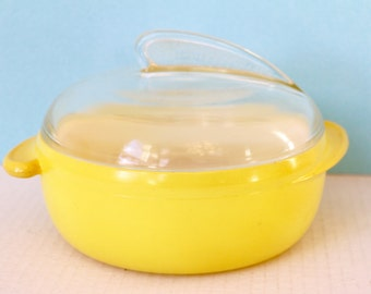 Glasbake Yellow Fin Casserole 482 Rare Vintage Kitchen Collectible