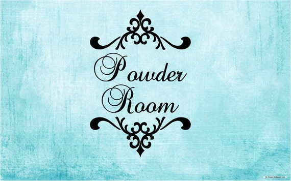 Powder Room, Bathroom Vinyl Decal Wall Word
