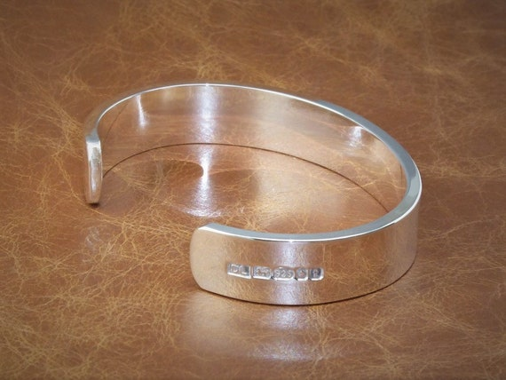 "Men/'s Gents Solid 925 Sterling Silver Open Torque Bangle Bracelet /""Handmade/"""