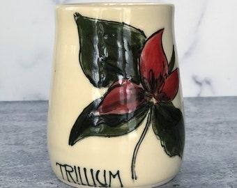 Vermont wildflower tumblers, wheel-thrown, handpainted, Trillium