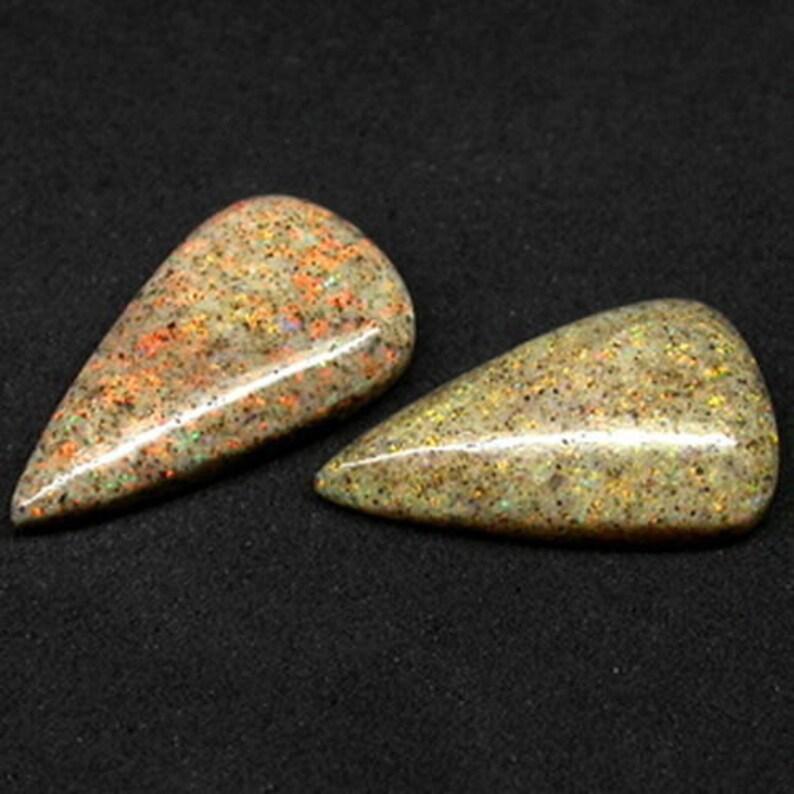 10.25ct Natural Loose Gemstones Fancy Pear Pair Red Flash Australia Boulder Opal