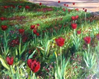 When In Bloom - Original Landscape Art Painting - Acrylic On Hardboard