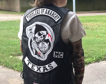 7607b785d TODDLERS OF ANARCHY Leather Vest and Patch set, Sons of Anarchy Fan, Kids  Motorcycle Leather Vest, Embroidery Patches, Harley Davidson Kids