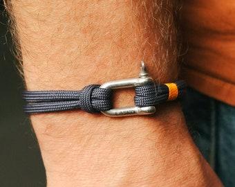Blue Navy & Silver Shackle Bracelet, Sailing Rope Bracelet, Men and Women Bracelet, Nautical Jewelry, Climbing Rope Bracelet