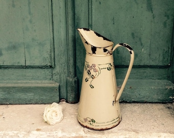French Enamel jug - Large early charming chippy hand stenciled french pink roses over cream vintage French enamel pitcher - jug