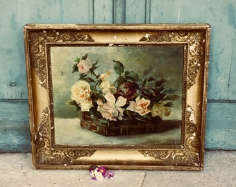 Charming antique french oil painting on canvas - french roses  - roses peonies painting - original 19th C gilt gesso frame