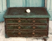 Charming original hand painted antique French large Normandy hope Box - marriage chest - dowry chest - blanket box - wedding chest - 18th C