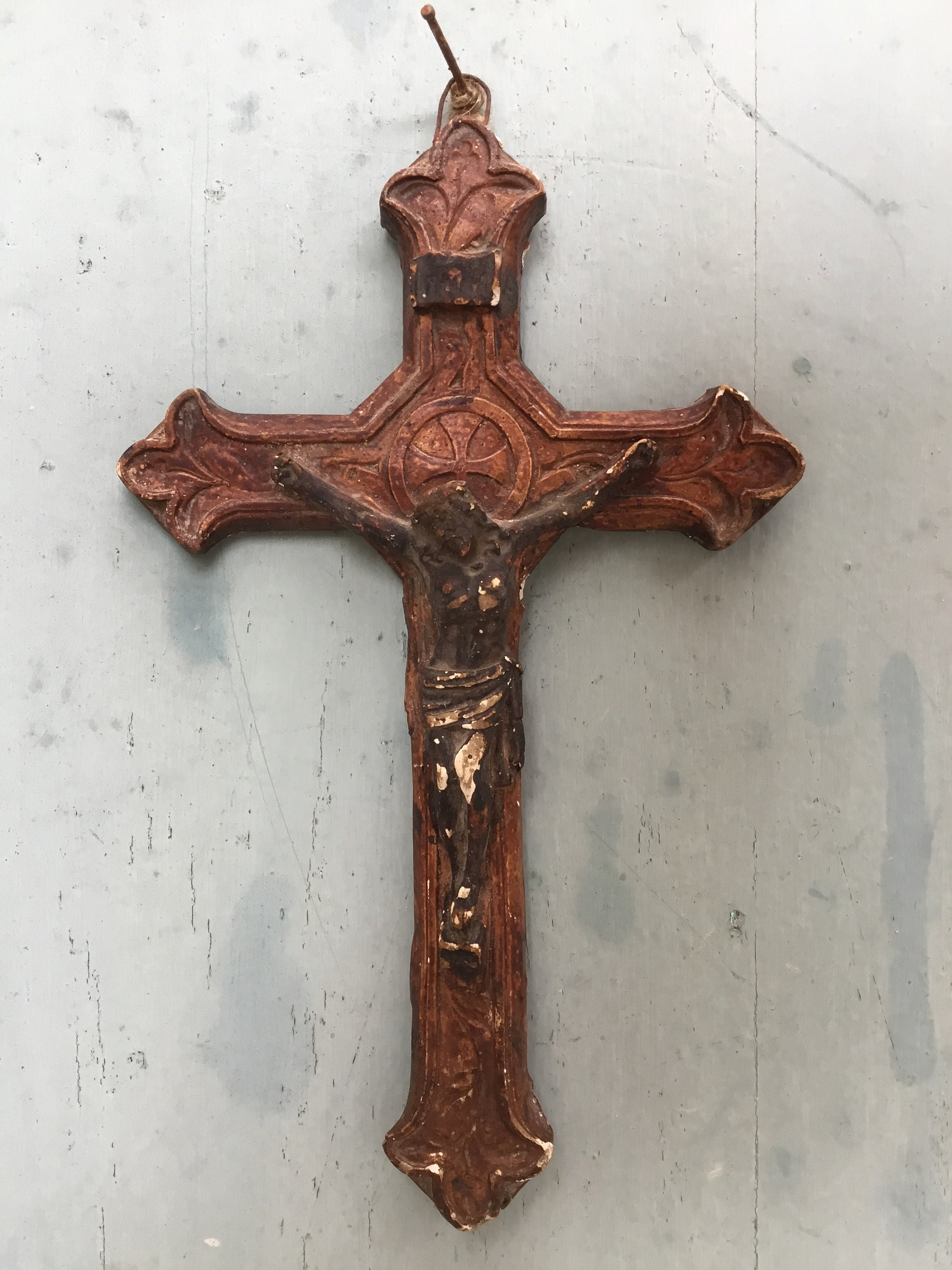 Antique Crucifix 18th C Beautiful Antique French Plaster Corpus