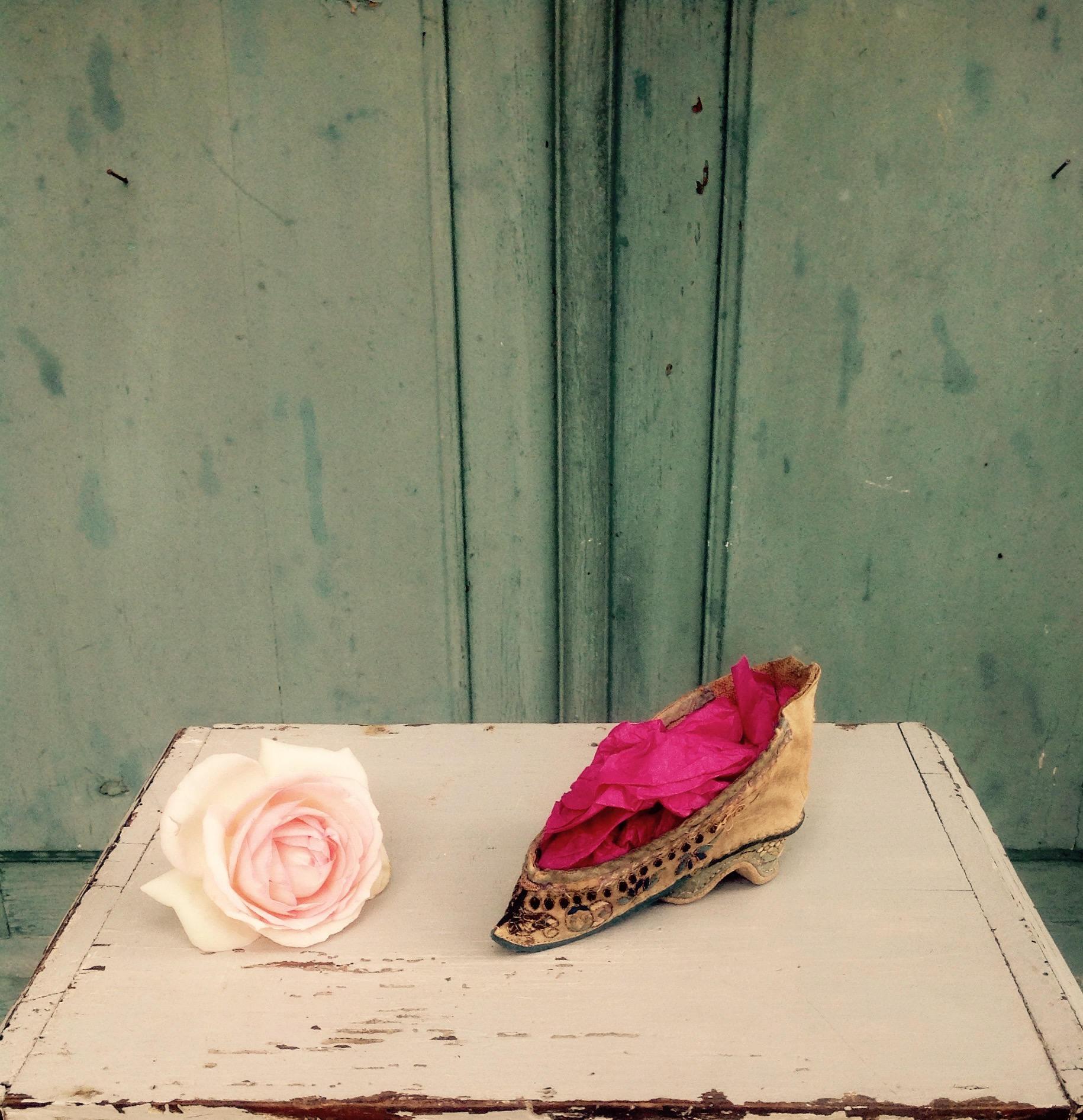 Delicately Tiny Antique Chinese Silk Lotus Slipper Bound Feet