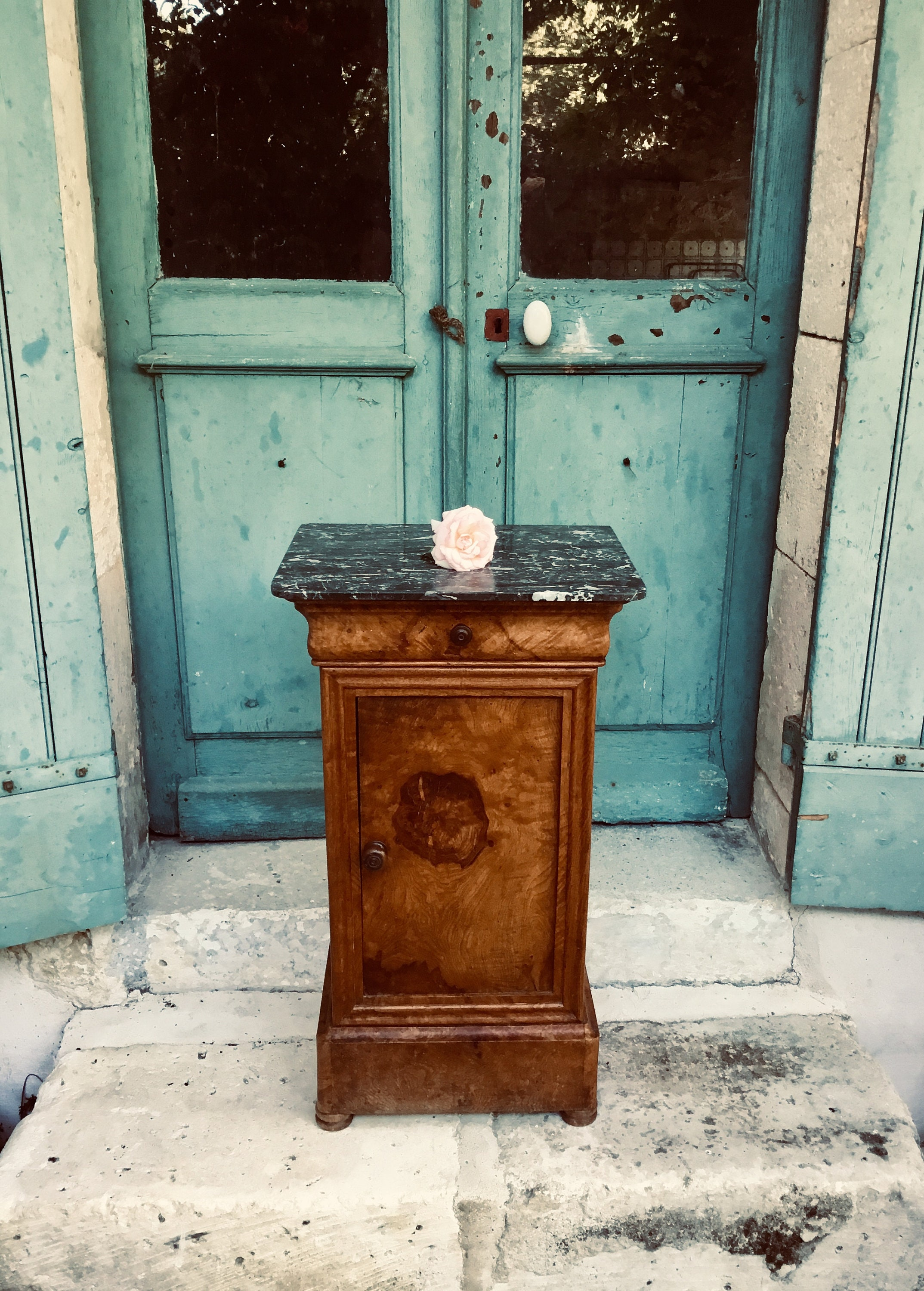 Antique Marble Top Nightstand Bedside Table Fabulous