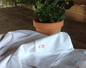 French linen sheet - Beautifully simple handwoven vintage french linen sheet initialed C D wedding trousseau dowry