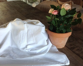 French linen sheet - M D monogrammed vintage french linen sheet wedding trousseau dowry